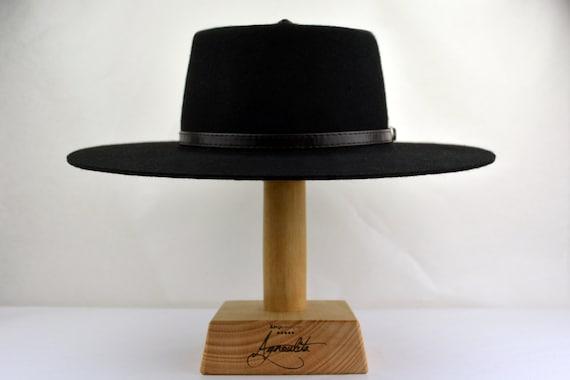 Bolero Black Wool Felt Gambler Mexican Cowboy Flat Crown Hat size Med to XLarge