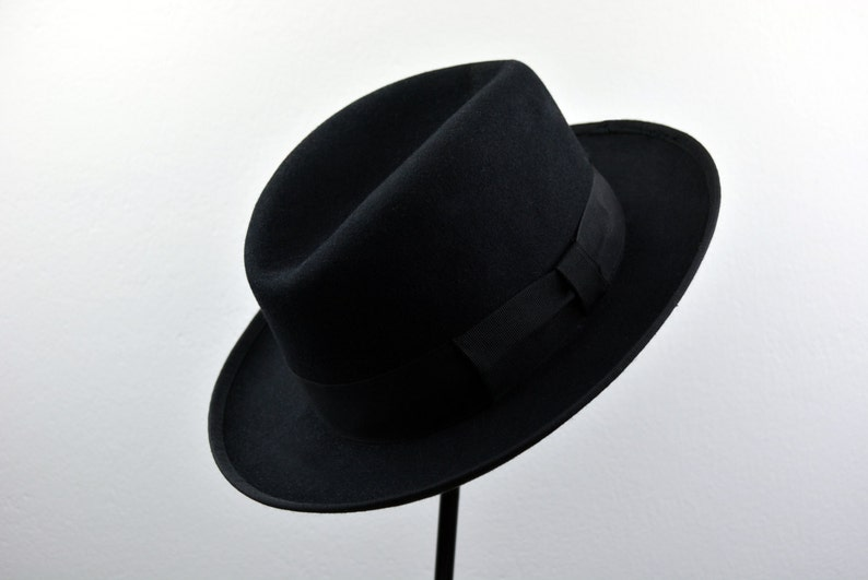 7105fc2329cd Homburg Hat The SIGNATURE Black Fedora Hat For Men Mens image ...