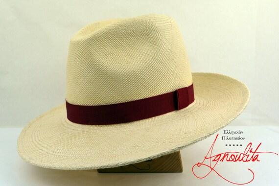 Off-White Panama Fedora - Genuine Ecuador Toquila Straw Handmade Panama Hat - Men Women