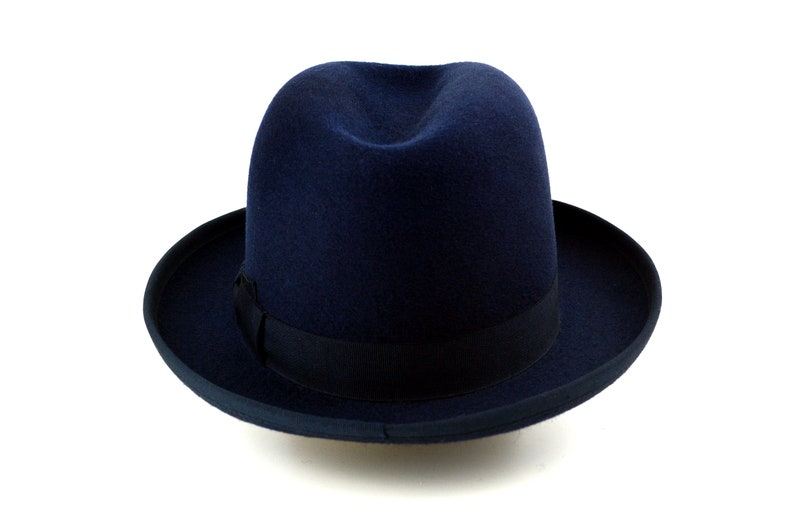 Homburg Hat The CANDIDATE Navy Blue Fedora Hat For Men  5b78f046ade9