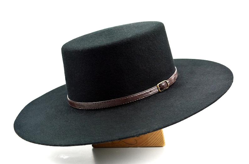 0e4d006e75f Bolero Hat The GALLOPER Black Wool Felt Flat Crown Wide