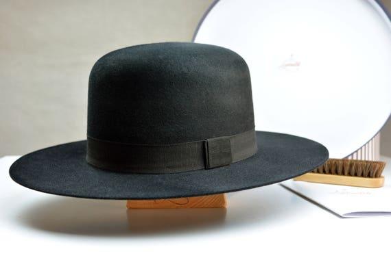 2d0791f0a7f60 Fedora The BILLY J Black Fur Felt Open Crown Wide Brim Hat