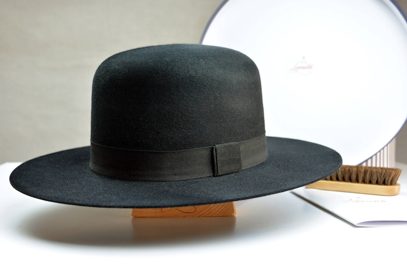 3e74345f Wide Brim Fedora The BILLY J Black Fur Felt Round Crown | Etsy