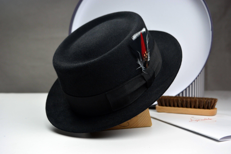 4794daccd2a23 Pork Pie The JAZZIST Black Pork Pie Fedora Hat for Men