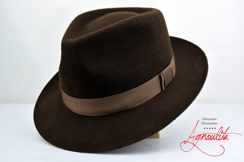 9a54f342b8053 Fedora The DANIO Chocolate Brown Wool Felt Fedora Hat For