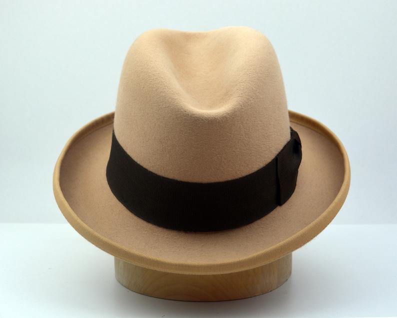 742fa3fc84f ... Homburg Hat The AMBASSADOR Light Camel Fedora Hat For Men image ...