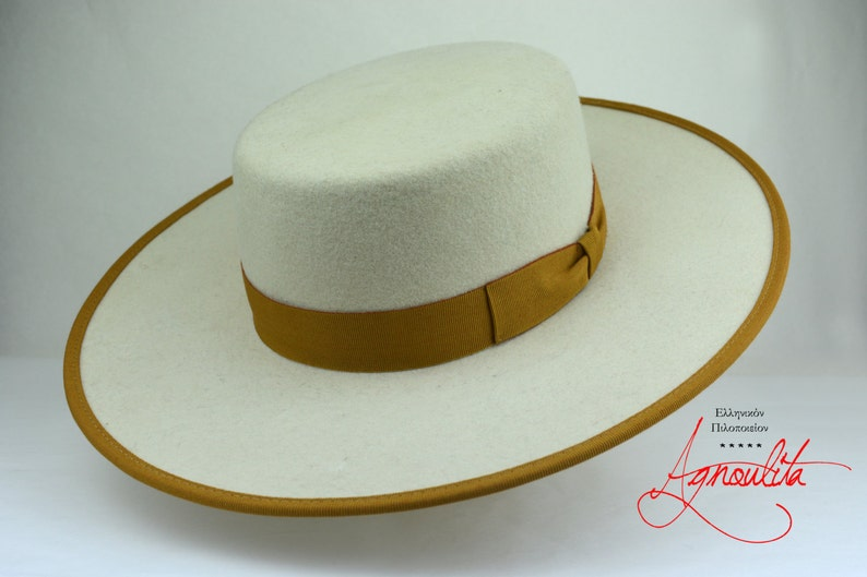 2c0f7dcbc86607 Bolero Hat The COSMOPOLITAN Ivory Wool Felt Flat Crown | Etsy