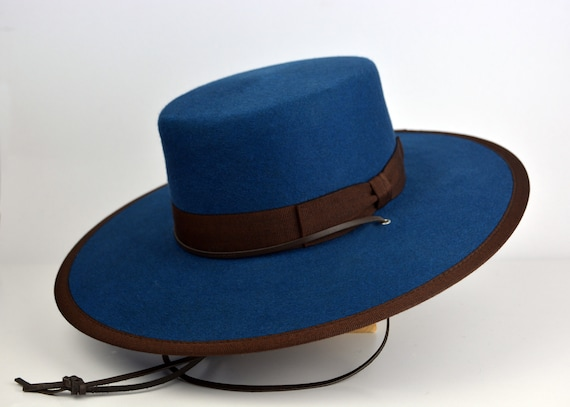 Bolero Hat Blue Fur Felt Flat Crown Wide Brim Hat Men Women  031c0f5205f5