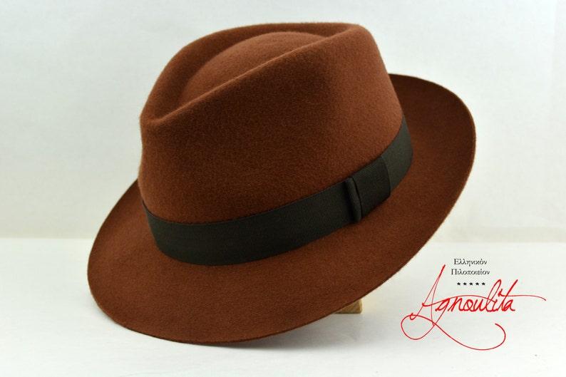 02bfdf9de Fedora | The ATLAS | Saddle Brown Wool Felt Fedora Hat For Men | Mens  Fedora Hats | Mens Felt Hat