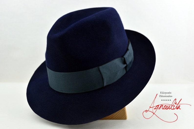 1aeb52627cfcaf Fedora The JOURNAL Navy Blue Trilby Hat Men Fedora Hat | Etsy