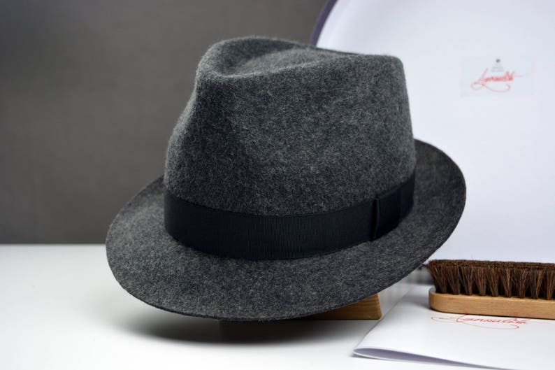 c5d61cbded827 Fedora The ANDY Grey Wool Felt Fedora Hat For Men Mens