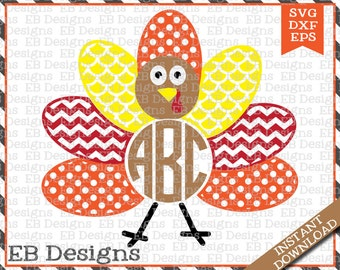 f83ef9f0 Turkey Monogram Frame Cut File (SVG, EPS and DXF)