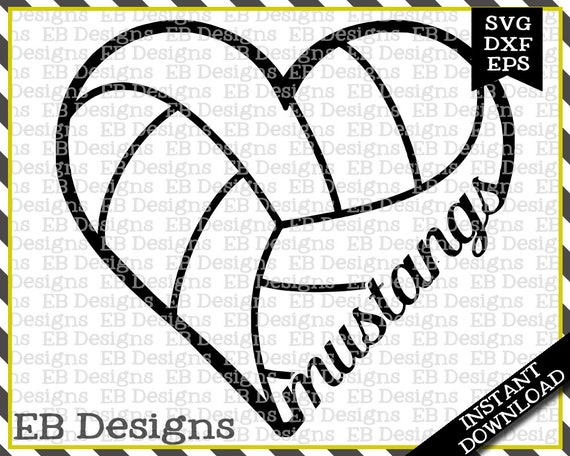 Mustangs Volleyball Love Svg Dxf Eps Cutting Machine Files Etsy