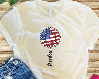 Freedom tshirt for women, Freedom shirt, American sunflower tshirt, 4th of July Freedom sunflower tshirt, Sunflower shirt
