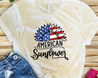 Patriotic shirts for women, Patriotic sunflower shirt, America sunflower flag shirt to celebrate the July 4th holiday or all year around