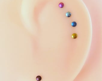 Tiny Niobium Stud Earrings, Perfect for Super Sensitive Ears, Nickel Free Studs for Earlobes or Cartilage - Made in USA, Choose Your Color!