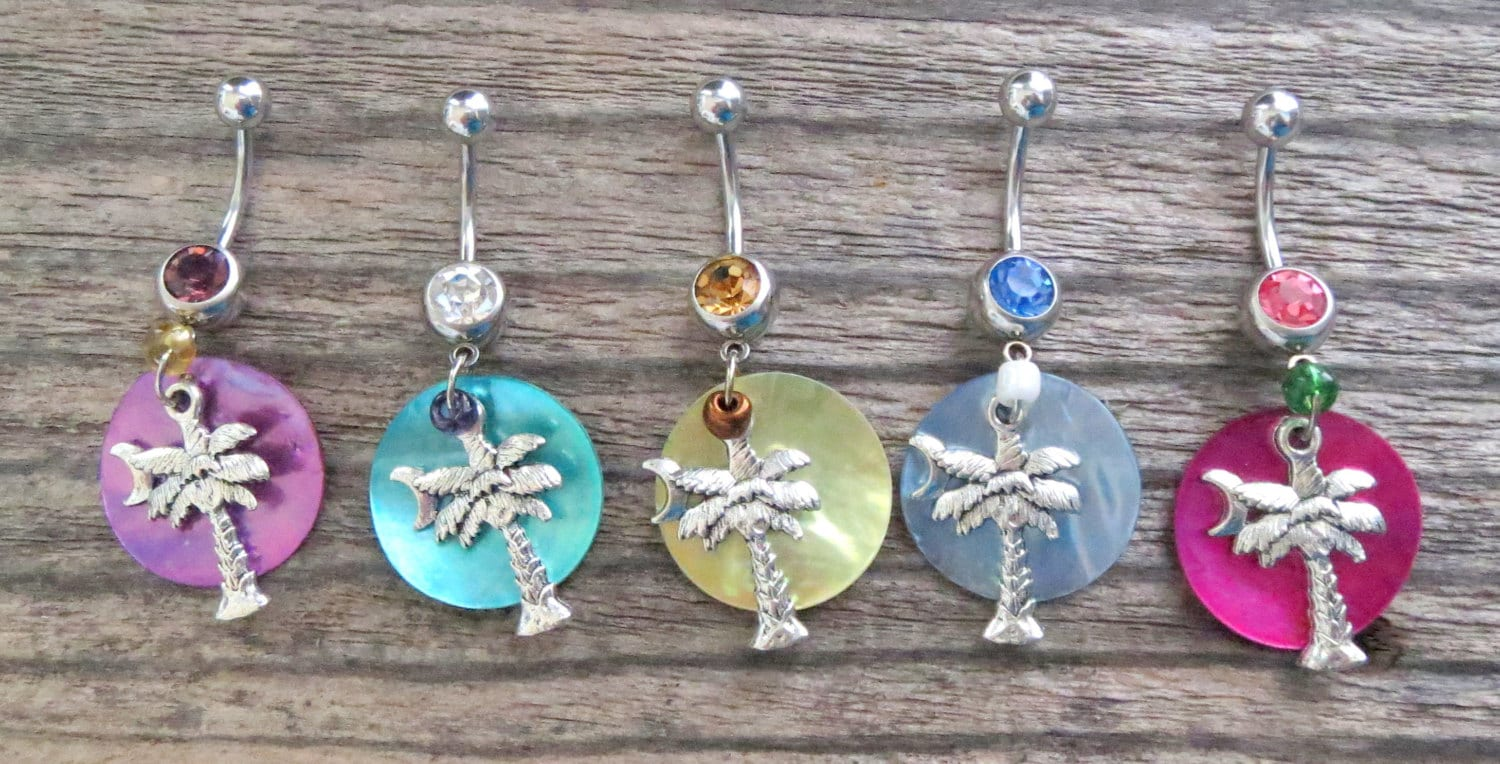 Palm Tree Belly Button Rings With Shimmery Shell South Carolina