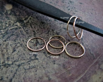 Tiny Gold Nose Ring, 14k Solid Rose Gold or Yellow Gold - 22 or 24 Gauge Super Skinny Endless Hoop for All Piercings - 100% Made in the USA