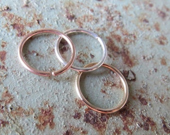 Nose Rings Set of Two, 20g Hoops, Mix and Match: Rose-Gold Filled, Gold Filled, or Sterling Silver Rings - Nose, Helix, Etc. Made In USA