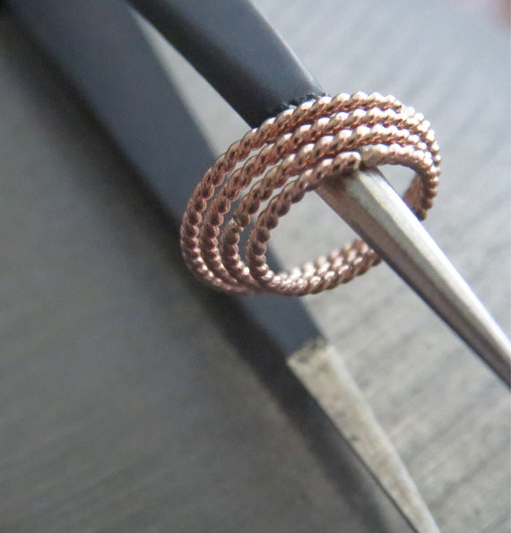 Rose Gold Hoop Nose Ring 20G 8MM Gold Sterling Silver 925 Twisted Rope Silver