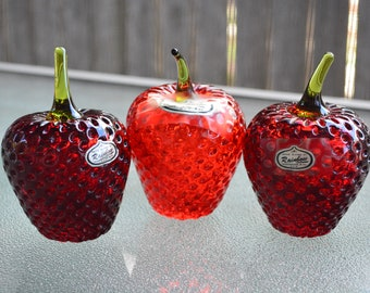 Crowning Touch Vintage Blown Glass Strawberries 1990s Hallmark Bubbled Glass
