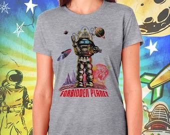 Forbidden Planet / Robby the Robot / Women's Gray Performance T-Shirt