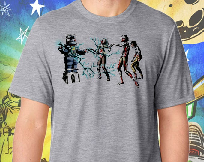 Lost in Space Robot B9 Hates The Walking Dead / Men's Zombie Gray Performance T-Shirt
