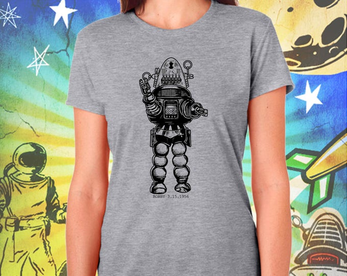Forbidden Planet / Robby the Robot in Black / Women's Gray Performance T-Shirt