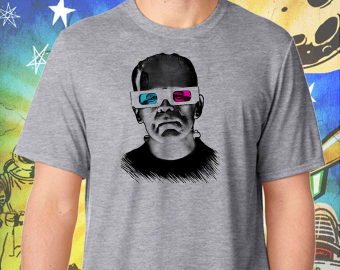 Frankenstein Monster / 3D Glasses / Men's Gray Performance T-Shirt