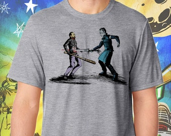 Game of Thrones / Walking Dead / The Night King Ends Negan / Men's Zombie Gray Performance T-Shirt