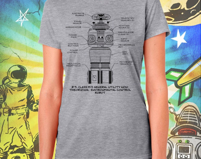 Lost in Space / Classic B-9 Robot / Women's Gray Performance T-Shirt
