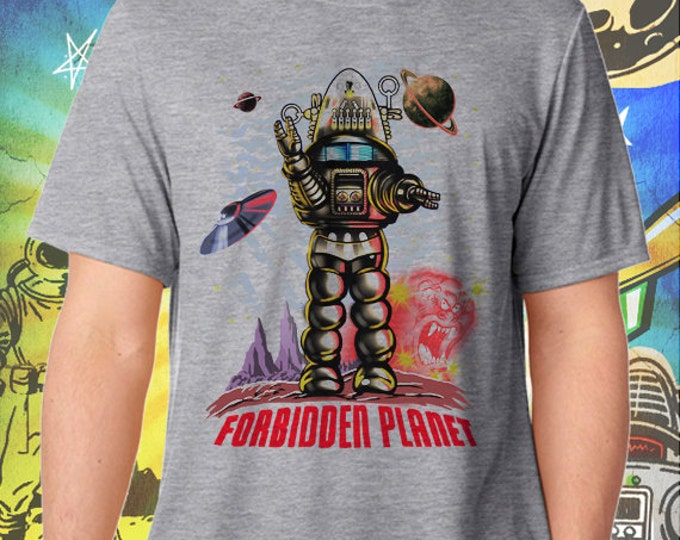 Forbidden Planet / Robby the Robot Waves / Men's Gray Performance T-Shirt