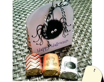 """Halloween Treat Box """"Cute Spider Box"""" Halloween printable party favor, Hershey Nugget wrappers to match"""