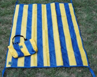 Shark Shade Beach Large Picnic Yoga Mat and Tote Blue and Yellow