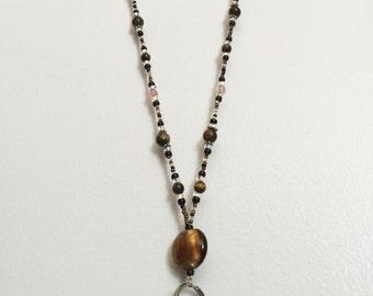 Eye of the Tiger Handmade Beaded Lanyard, Name Badge, ID Holder, Magnetic Clasp