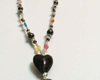 Colorful Hematite Delight Heart Handmade Beaded Lanyard, Name Badge, ID Holder, Magnetic Clasp