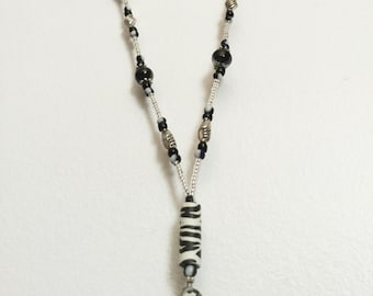 Zebra Handmade Beaded Lanyard, Name Badge, ID Holder, Magnetic Clasp