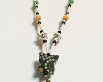 White/Peach/Lime Butterfly Handmade Beaded Lanyard, Name Badge, ID Holder, Magnetic Clasp