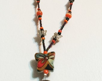 Orange/Black Butterfly Handmade Beaded Lanyard, Name Badge, ID Holder, Magnetic Clasp