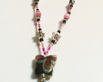 Black/Pink Butterfly Handmade Beaded Lanyard, Name Badge, ID Holder, Magnetic Clasp
