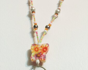 Spring Flowers Butterfly Handmade Beaded Lanyard, Name Badge, ID Holder, Magnetic Clasp