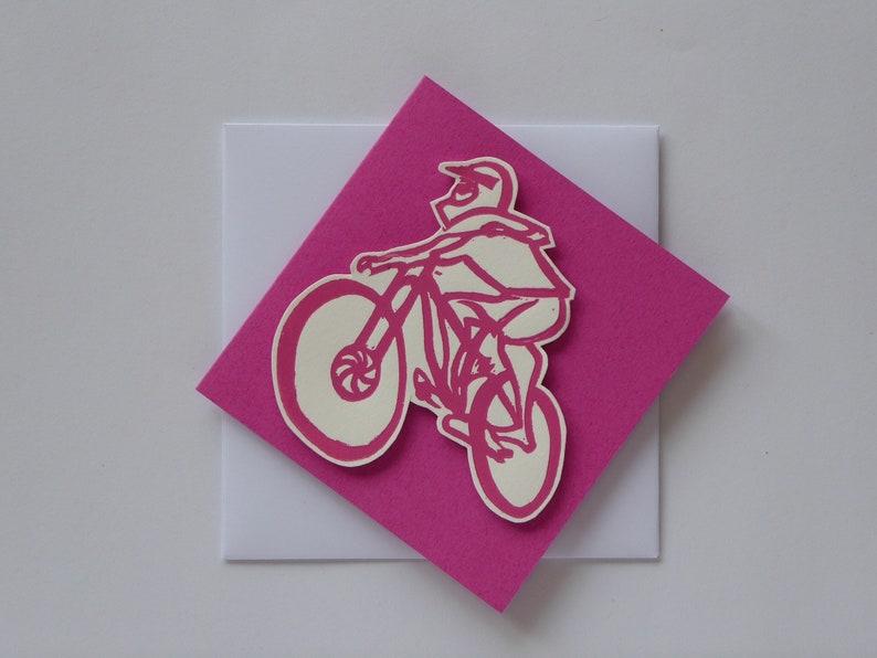 Downhill mountainbiker. Handmade linocut card