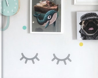 Sleepy Eyes Decal - Eye lash sticker - Eyelash Wall Decals - Eyes wall Decal - Bedroom Wall Decal  - Eyes Wall Sticker - Bedroom decor