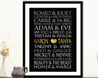Famous Couples names - Custom design - Gold, Silver couple names - Couples names, Wedding gift, engagement gift, modern Room Décor - gift