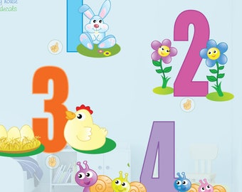 Numbers Wall Stickers - Kids Numbers Wall Decal - 1-10 - Number Wall decor - Kids Bedroom Numbers - Numbers  Room Decor - Nursery Wall decal