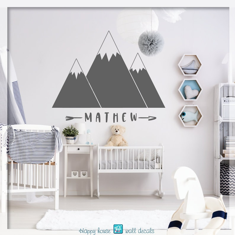 mountain wall decal nursery mountain decal mountain range | etsy