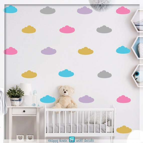cloud wall decals clouds sticker 5 color cloud decals | etsy