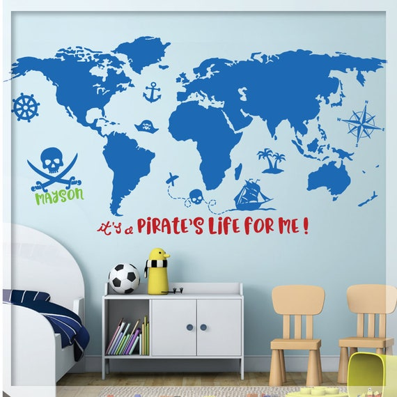 Pirate World Map.Pirate World Map Wall Decal World Map Kids Pirate Decor Etsy