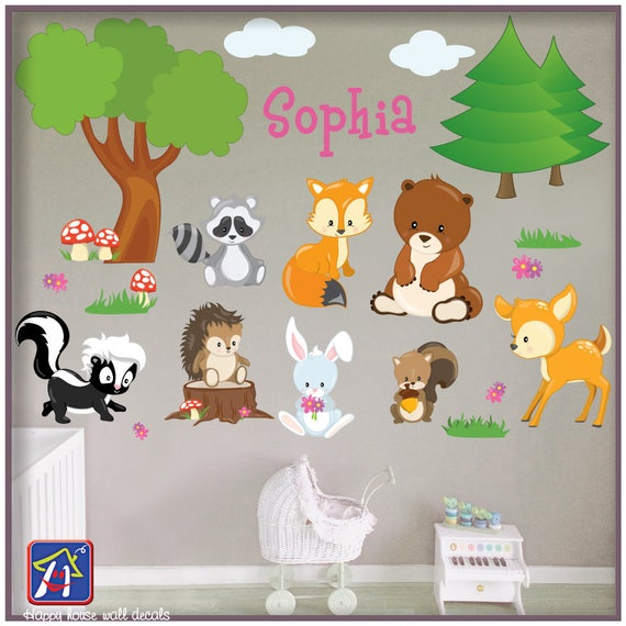 woodland animals wall decal forest animals decal forest | etsy