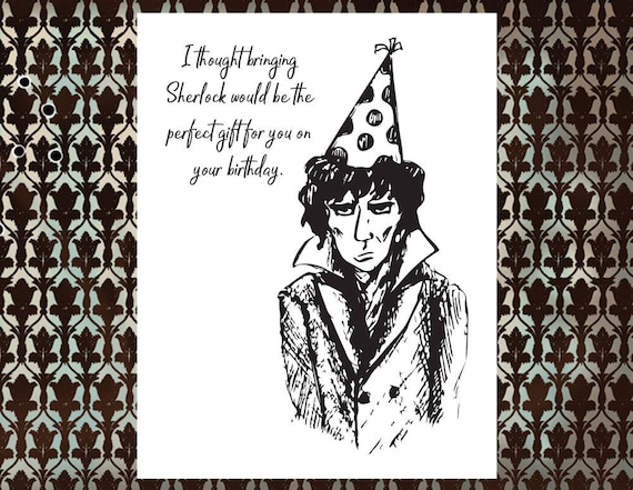 Sherlock Bbc Happy Birthday Card With Gift Card Message Etsy